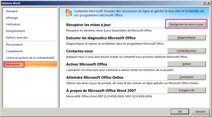 Vérification des mises à jour d'Office dans Word2007
