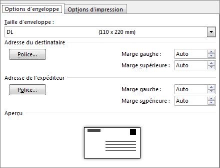 Onglet Options d'enveloppe pour la définition de la taille d'enveloppe et des polices des adresses