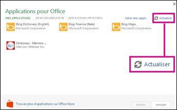 Bouton Actualiser dans Applications pour Office