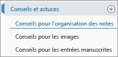 Onglets Page dans OneNote Online