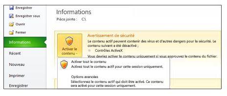 Zone Avertissement de sécurité lorsqu'un fichier ne peut pas être approuvé