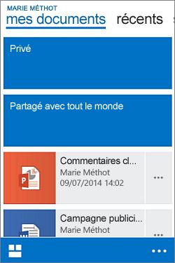 Affichage mobile de ma bibliothèque de documents