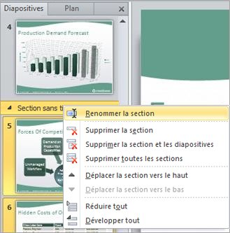 Renommer une section