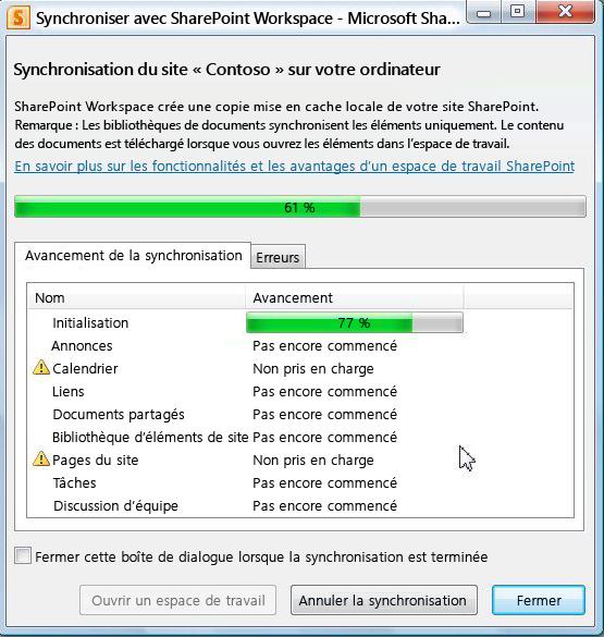 Fenêtre de progression de la synchronisation avec l'ordinateur