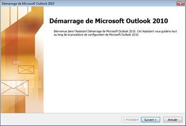Fenêtre de démarrage d'Outlook2010
