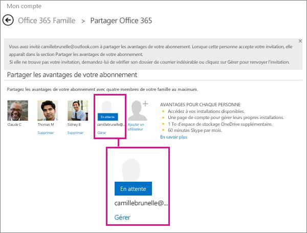 Capture d'écran de la page Partager Office365 avec un utilisateur en attente d'abonnement partagé sélectionné