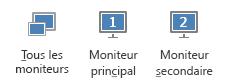 Capture d'écran de l'onglet Présenter montrant le moniteur principal, le moniteur secondaire et tous les moniteurs