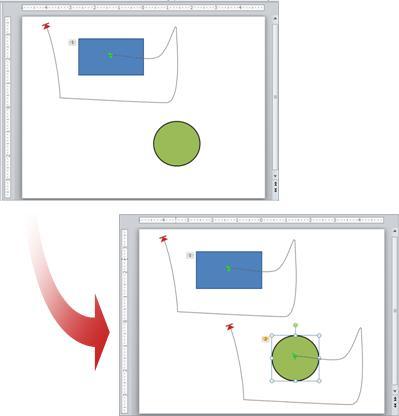 Exemple montrant une animation copiée d'un objet à un autre