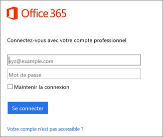 Page de connexion à portal.office.com
