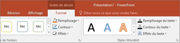 Onglet Outils de dessin du ruban dans PowerPoint