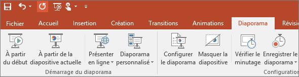 Onglet Diaporama du ruban dans PowerPoint
