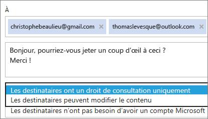Sélection des options Affichage seul et Connexion requise dans le courrier électronique d'invitation