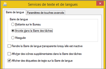 Office2016 - Services de texte et langues d'entrée dans Windows8