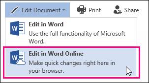 Word Web App में संपादित करें आदेश की छवि