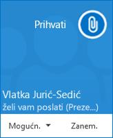 Snimka zaslona sa skočnim upozorenjem o prijenosu datoteke
