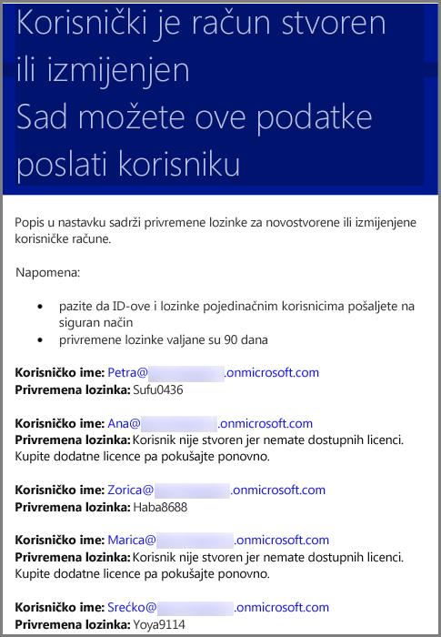 Ogledna poruka e-pošte s podacima o korisničkim vjerodajnicama