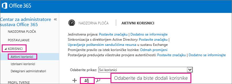 Slika odjeljka Korisnici u centru za administratore sustava Office 365