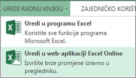 Stavka Uredi u programu Excel Online na izborniku Uređivanje radne knjige