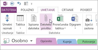 Umetnite datoteku privitka da biste u programu OneNote imali kopiju datoteka.