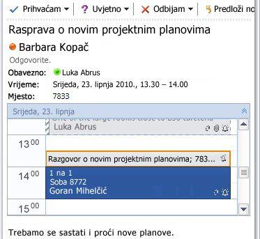 Brzi prikaz kalendara u poruci zahtjeva za sastanak