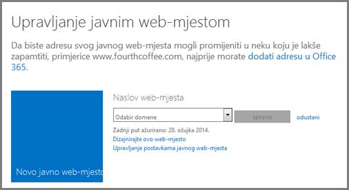 Dijaloški okvir za upravljanje javnim web-mjestom u kojem se prikazuje mogućnost Odabir domene.