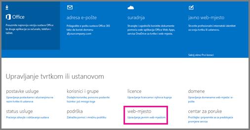 Stranica za administraciju na kojoj se prikazuje mogućnost Upravljanje vlastitim javnim web-mjestom .