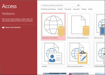 Zaslon dobrodošlice programa Access s prikazom okvira za pretraživanje predložaka te gumba prilagođene web-aplikacije i prazne baze podataka za stolna računala