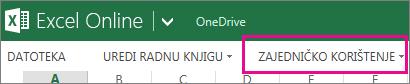 Naredba Zajedničko korištenje na vrpci programa Excel Online u prikazu za čitanje