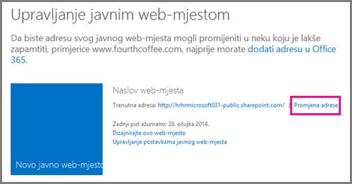 Stranica za upravljanje javnim web-mjestom na kojoj se prikazuje mogućnost Promjena mjesta adrese.