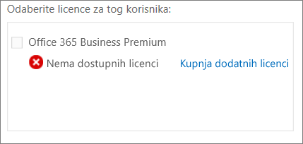Kupnja dodatnih licenci