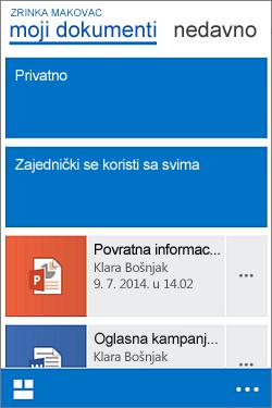 Mobilni prikaz biblioteke dokumenata