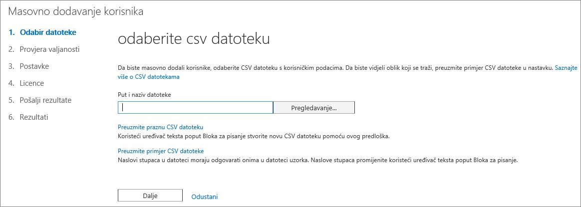 Prvi korak čarobnjaka za skupno dodavanje korisnika – odabir CSV datoteke