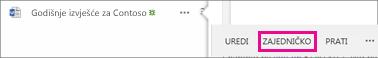 Snimka zaslona gumba Zajedničko korištenje