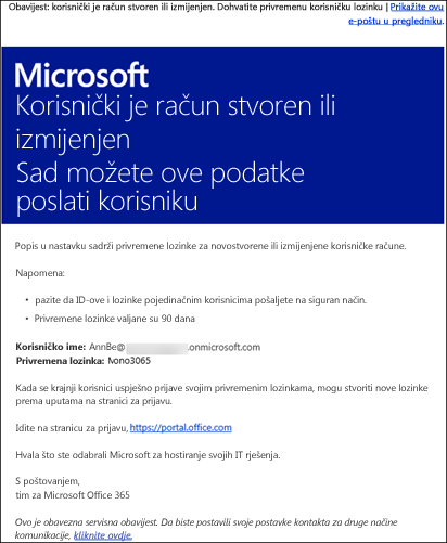 Ogledna poruka e-pošte s podacima o računu sustava Office 365 i podacima za prijavu u njega