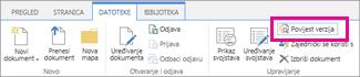 Snimka zaslona kartice Datoteke s istaknutim gumbom Povijest verzija