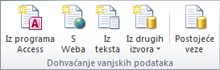 Slika vrpce programa Excel