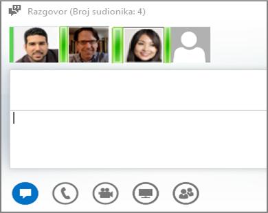 Snimka zaslona s grupnom izravnom porukom