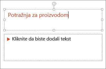 Dodavanje teksta