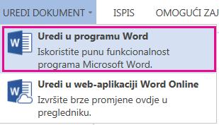 Snimak zaslona web-aplikacije Word Online na kojem je odabrana mogućnost Uredi u programu Word