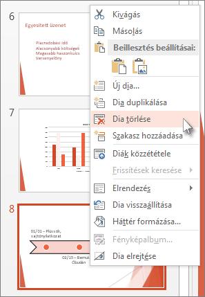 Dia törlése a PowerPointban a miniatűrön való jobb kattintással, majd a Dia törlése parancs választásával.
