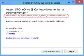 A OneDrive Vállalati verzió varázslója az előre kitöltött URL-címmel