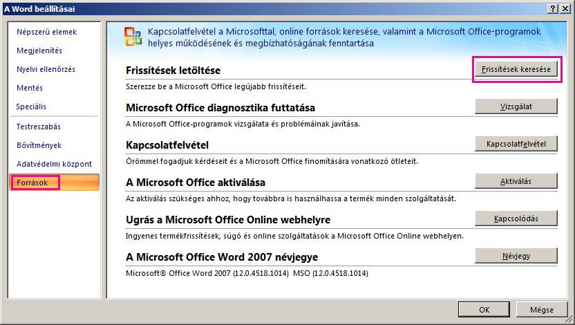 Office-frissítések keresése a Word 2007-ben