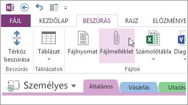 Illesszen be egy fájlmellékletet, így a OneNote-ban is lesz egy másolata a fájlokról.