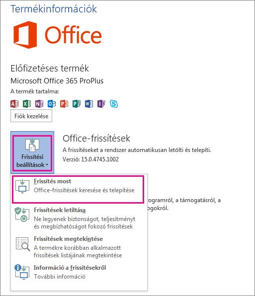 Office-frissítések manuális keresése a Word 2013-ban