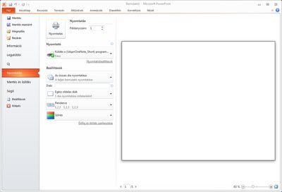 PowerPoint 2010 alkalmazás, Fájl lap, Nyomtatás parancs