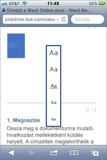 Betűméret kiválasztása a Word Mobile Viewerben