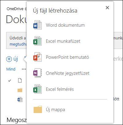 A OneDrive Vállalati verzió Új gombjával használható Office Online-lehetőségek