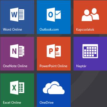 Az Office.com kezdőképernyője