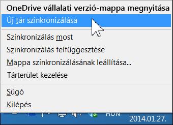 A OneDrive Vállalati verzió menüje a Windows értesítési területén