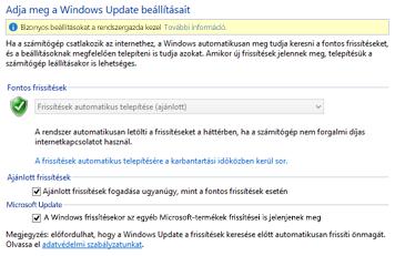 A Windows 8 Windows Update-beállításai a Vezérlőpulton